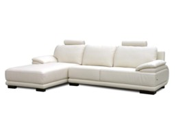 Chaise longue en sofá de piel. Tapizado blanco