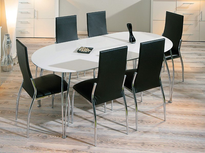 Mesa de comedor blanca extensible en oferta con apertura for Mesas de salon de cristal