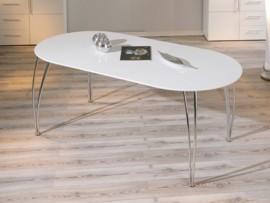 mesa de comedor ovalada blanca