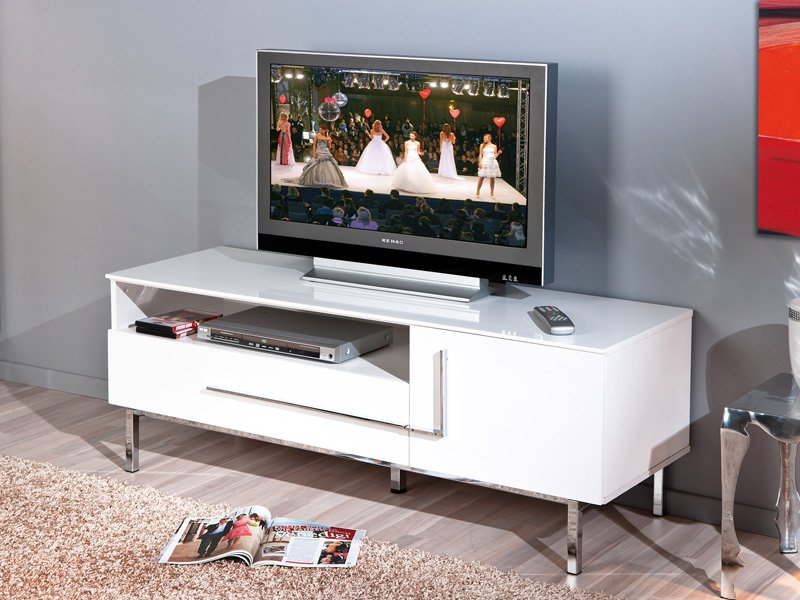 Mueble de tv en diseño blanco, mueble para televisión minimalista