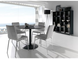 mesa redonda de comedor blanca o negra