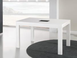 Mesa extensible con cristal y pata telescópica