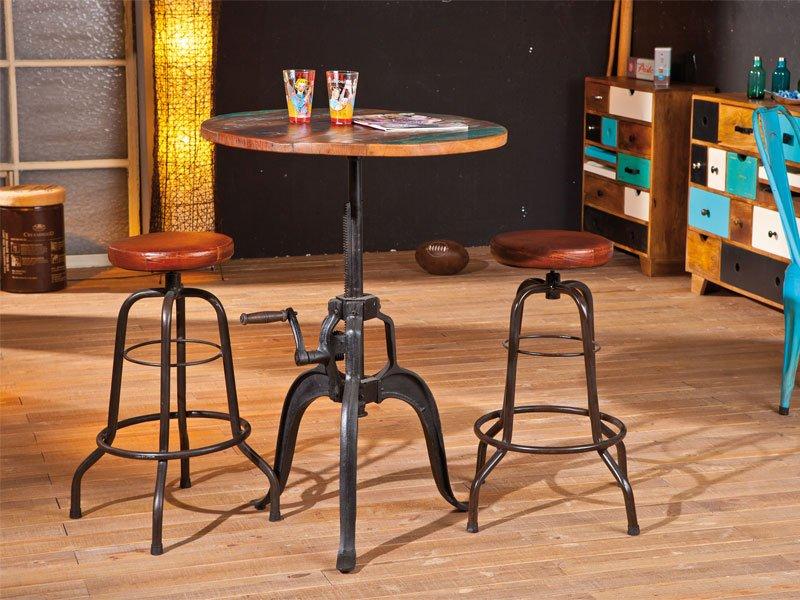 Mesa alta bar en madera - Mesa alta con taburetes ...