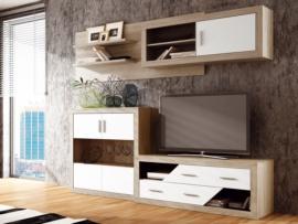 Muebles de salón comedor roble y blanco