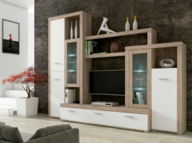 Comedor color roble y blanco modular