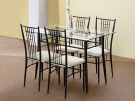 Conjunto de mesa de salón y 4 sillas Forja