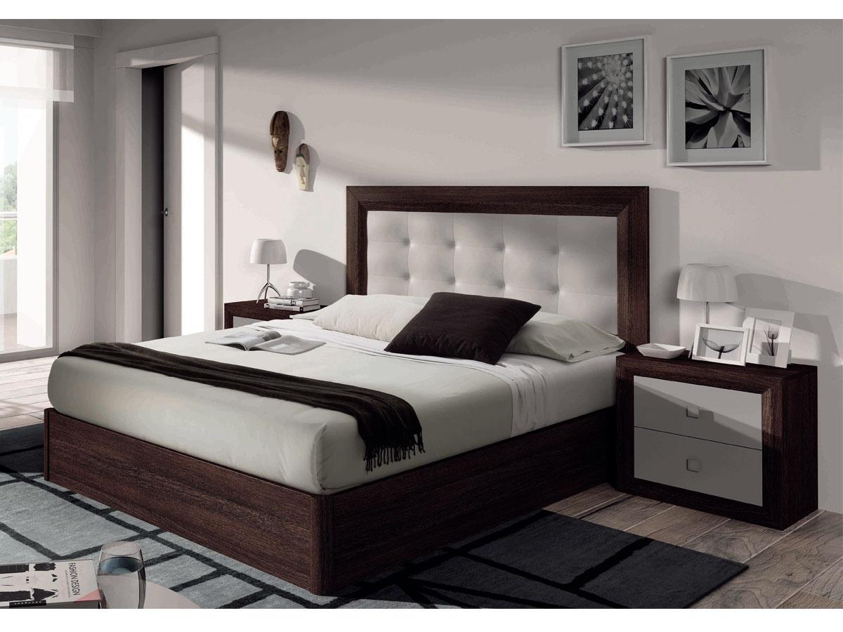 Dormitorio capiton con cabezal tapizado de polipiel y mesitas for Diseno de muebles modernos tapizados