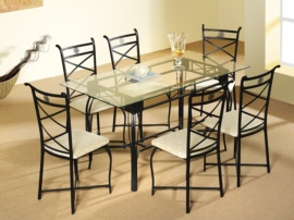 Conjunto de mesa de salón y 6 sillas Forja