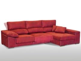 Sofá chaise-longue de cabezal abatible y asientos deslizantes