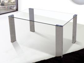 Mesa de comedor vanguardista de cristal transparente