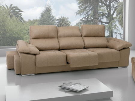 Sof 3 plazas grande con pouffs laterales - Medidas sofa 3 plazas ...