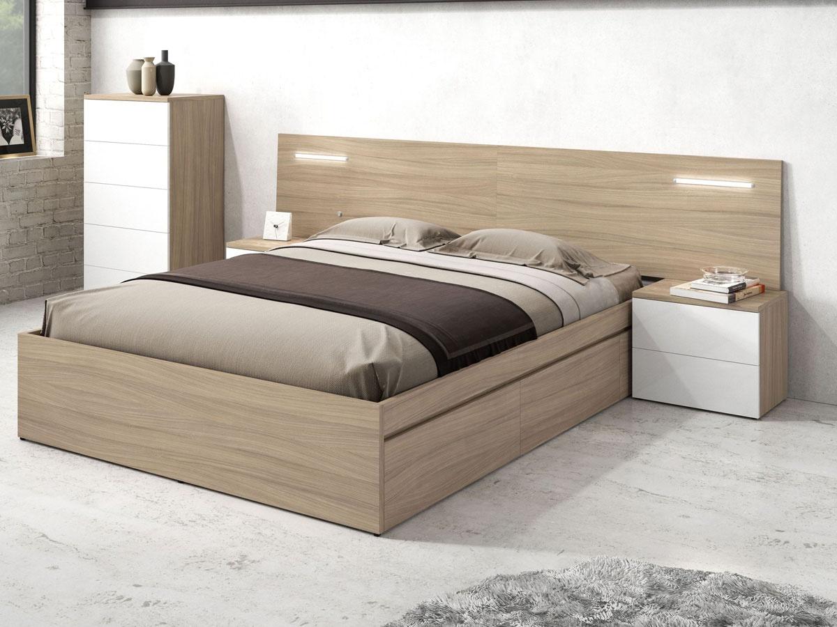 Dormitorio de matrimonio muebles roble, cabecero de cama y 2 mesitas