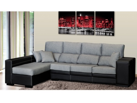 1 unique sofa chaise longue polipiel negro sectional sofas - Muebles hermanos herrera ...
