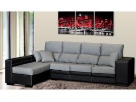 Sofá chaise longue de 4 plazas con pouffs laterales y arcón