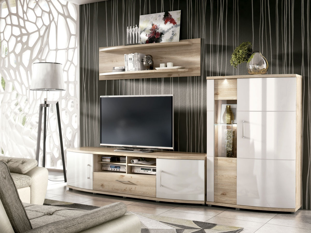 Sal n conjunto de mueble modular vitoria para tv y estanter a alta - Mueble salon tv ...