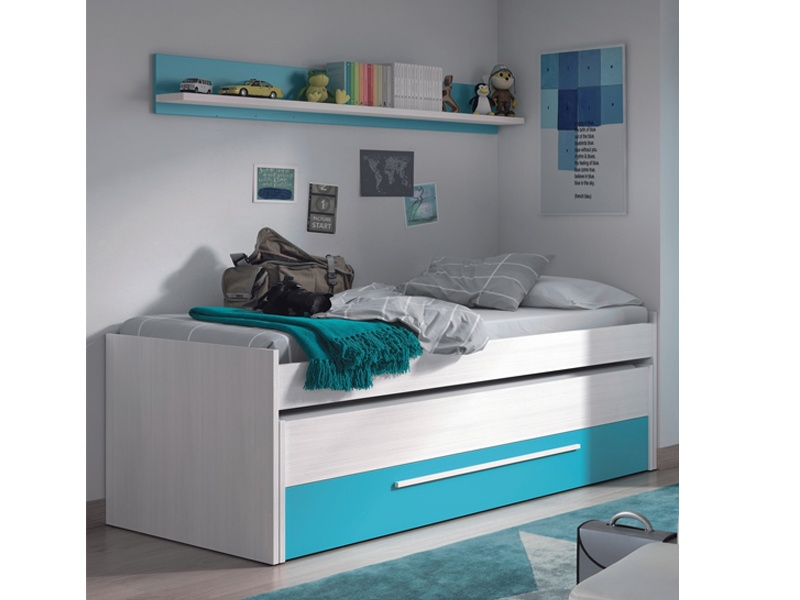 Conjunto de cama doble compacta y estante juvenil en oferta for Cama juvenil doble con cajones