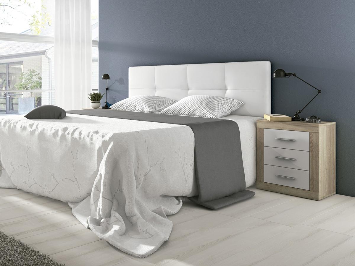 Cabecero de cama acolchado cabezal cama tapizado color blanco for Cabeceros de cama tapizados