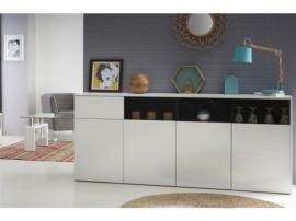 Mueble buffet de salón en blanco brillo