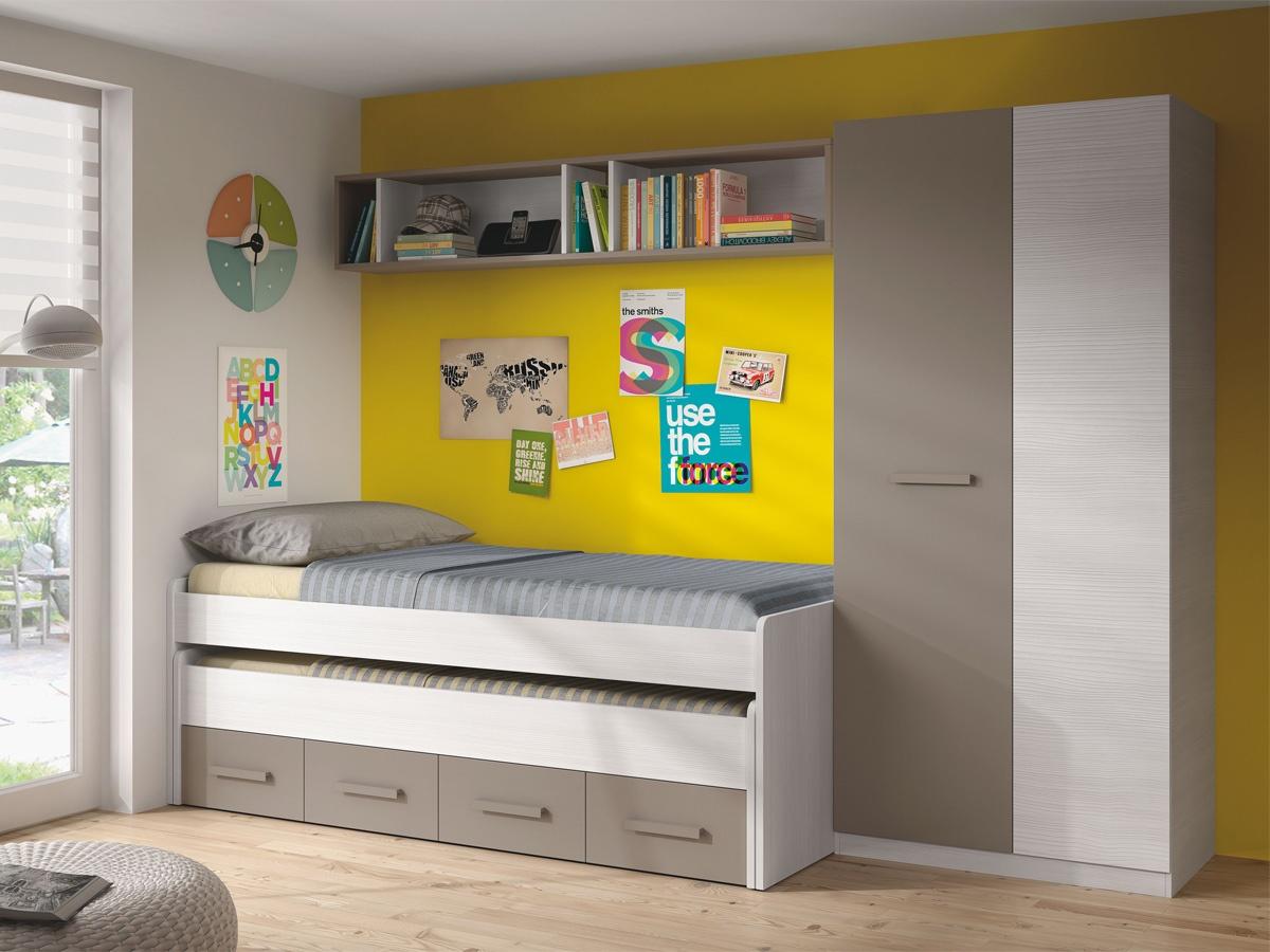Habitaci n de ni os muebles habitaci n infantil color nuez con rojo - Muebles habitacion infantil ...