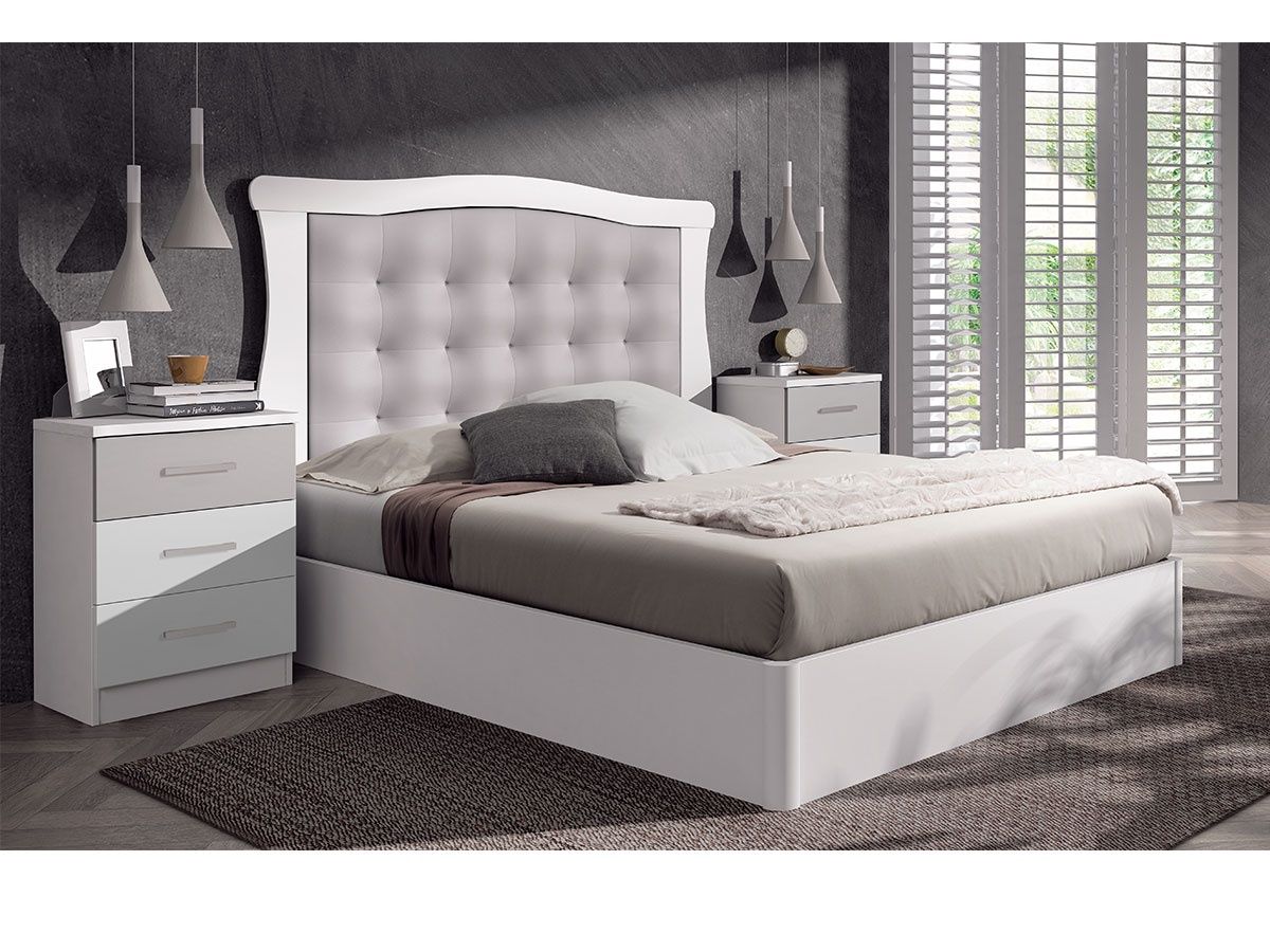 Dormitorio romántico blanco, mueble para la habitación de matrimonio