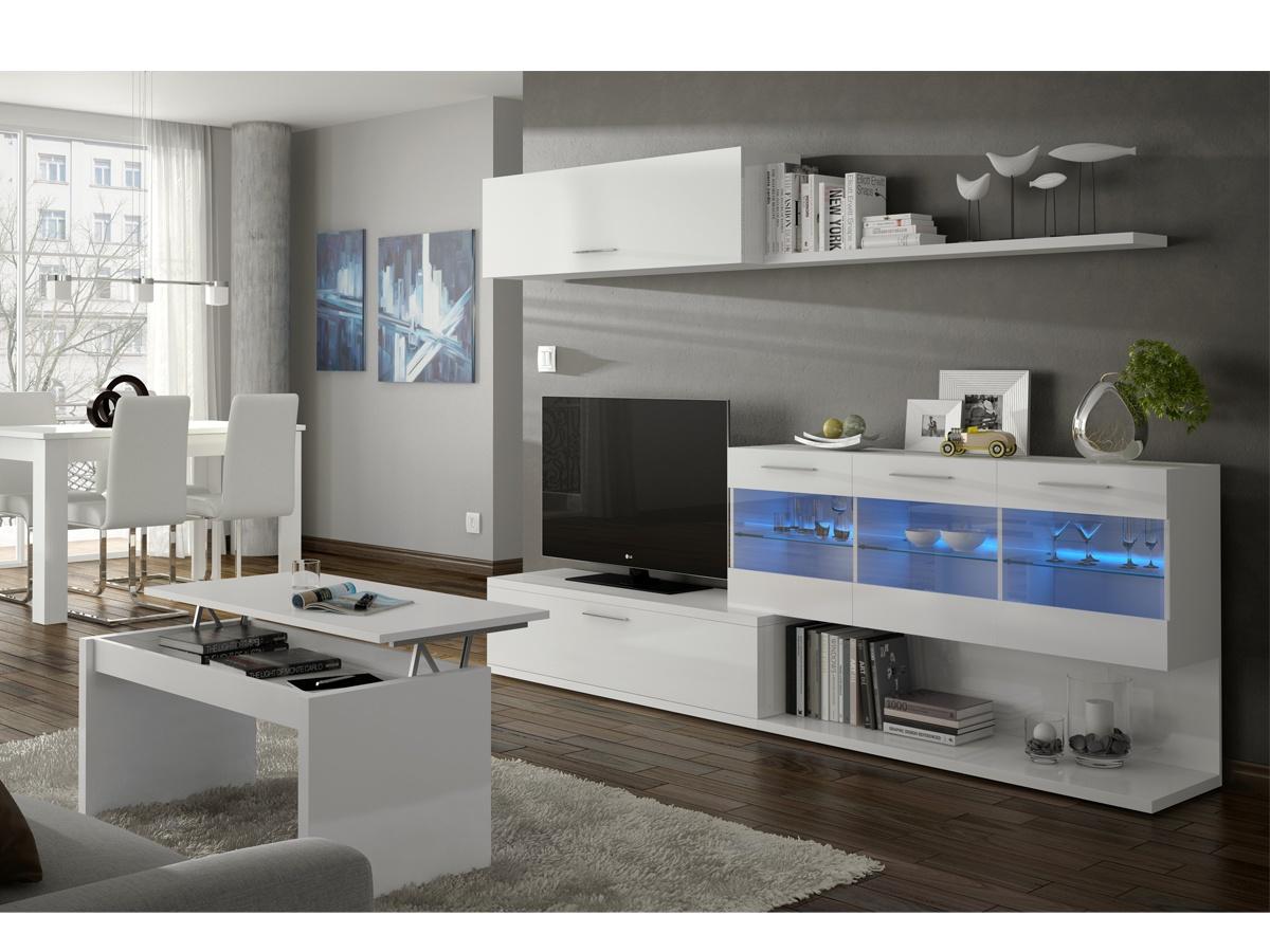 Sal n con mueble modular blanco mueble bajo de televisor - Muebles bajos para salon ...