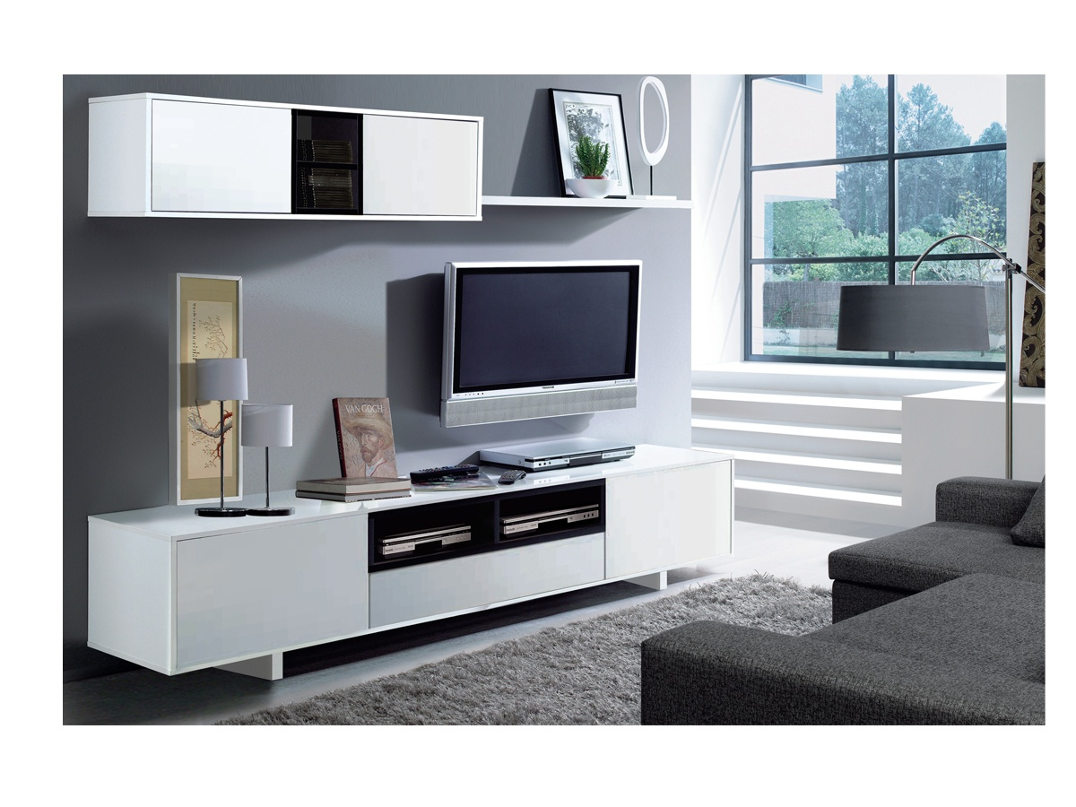 Mueble de comedor para tv blanco y negro oferta sal n for Meuble tv tres long