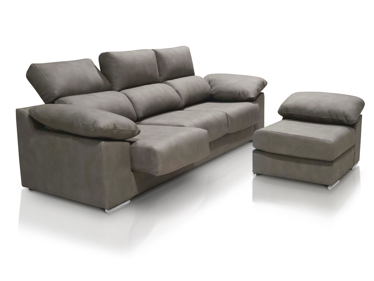 Sof chaise longue de 3 plazas con asientos deslizantes y for Sofas cama chaise longue