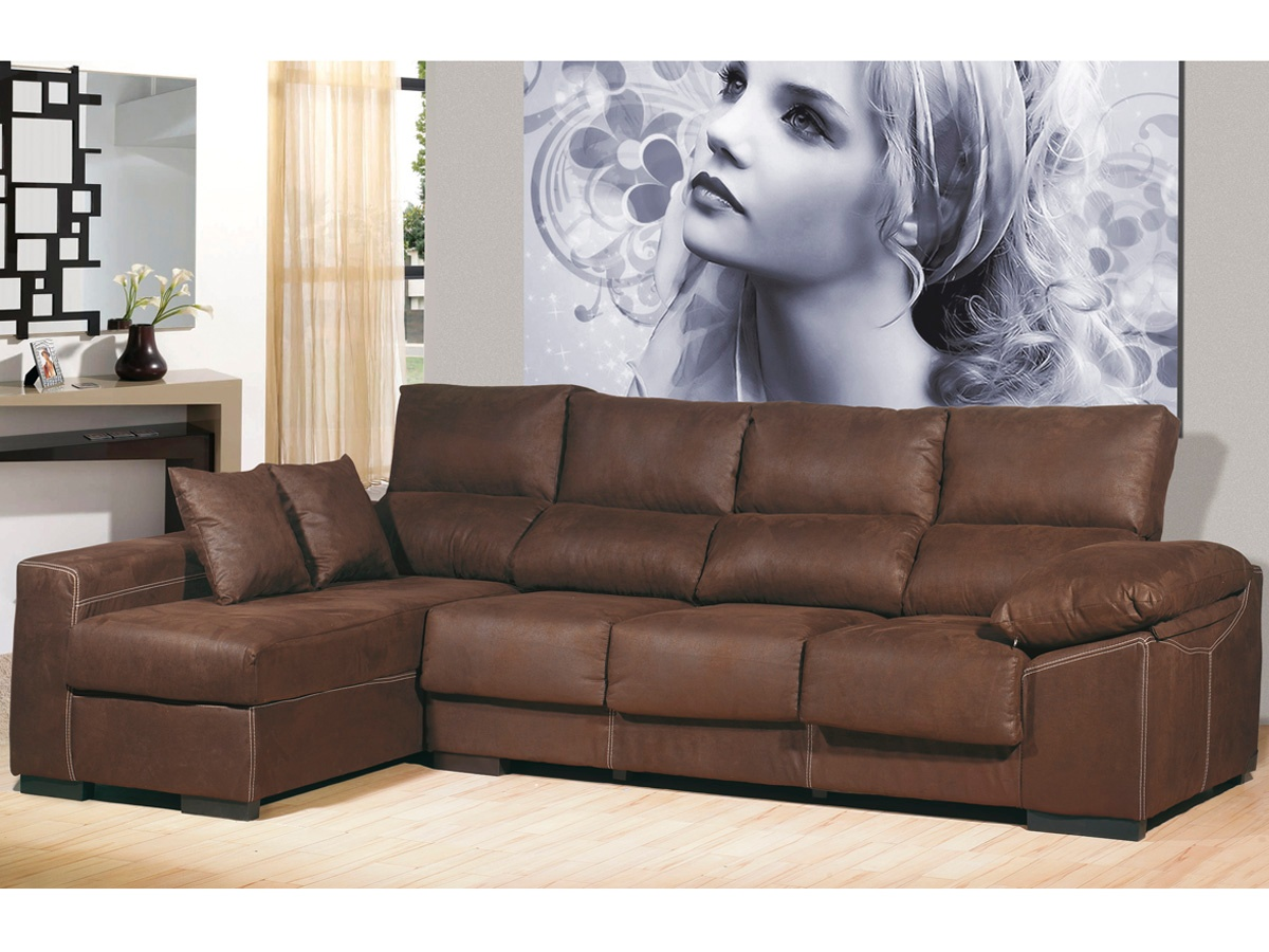 Sof chaise longue de 4 plazas chaise longue color chocolate for Sofas de piel con chaise longue
