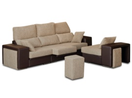 Sofá con chaise longue intercambiable y 4 pouffs