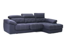 Sofá chaisselongue con cabezales reclinables de carraca