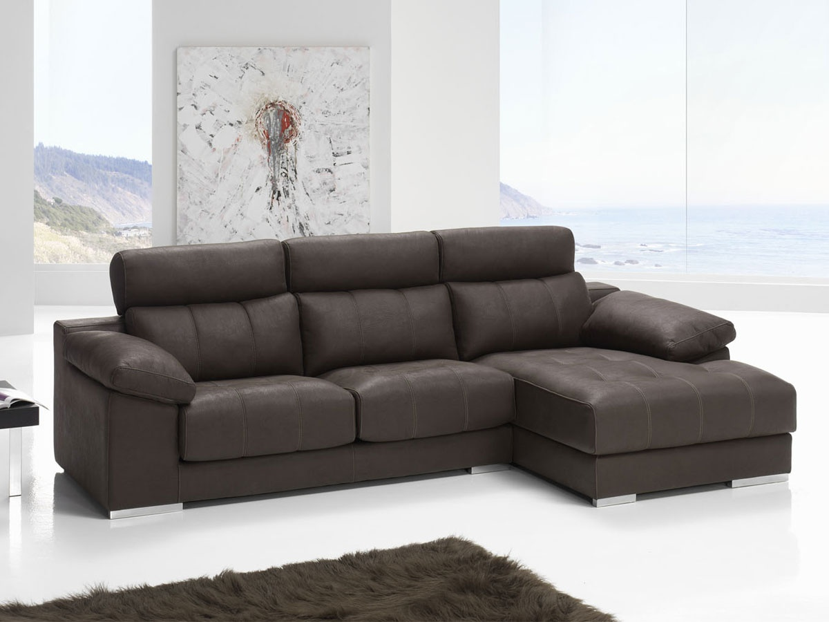 Sof chaise longue con asientos deslizantes chaise longue for Sofa piel chaise longue