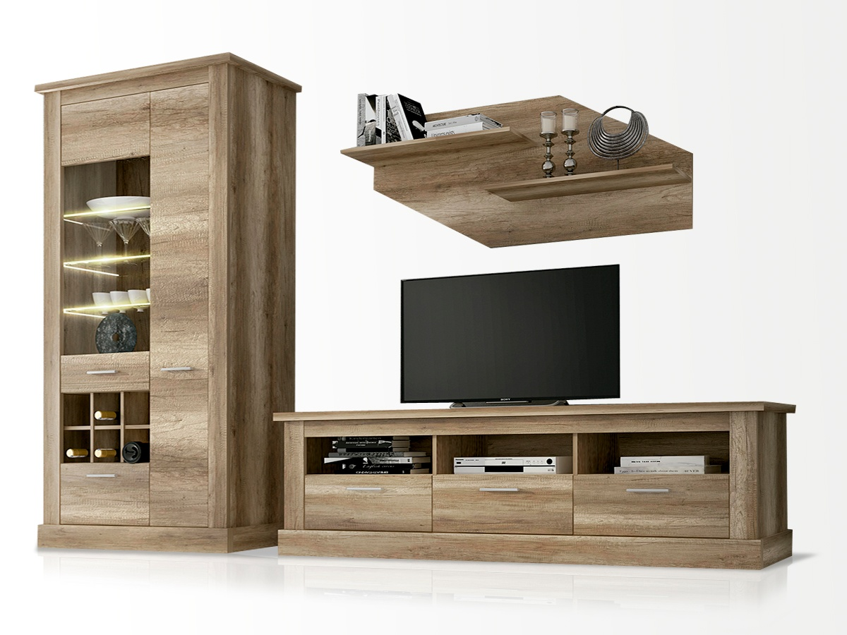 Mueble de sal n modular en roble modelo para tv combinado for Modulares de salon
