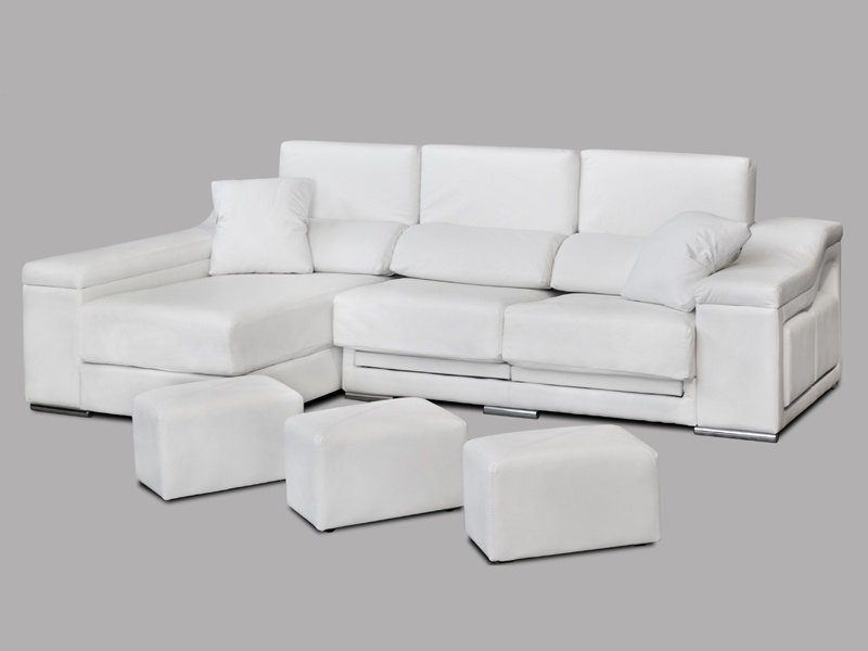 Sof de chaiselongue con puff asientos reclinables y for Sofa 4 plazas mas chaise longue