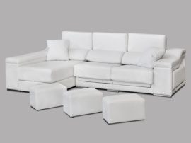 Sofá de chaiselongue con 5 puffs laterales