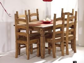 Conjunto de mesa de salón y 6 sillas Rustik