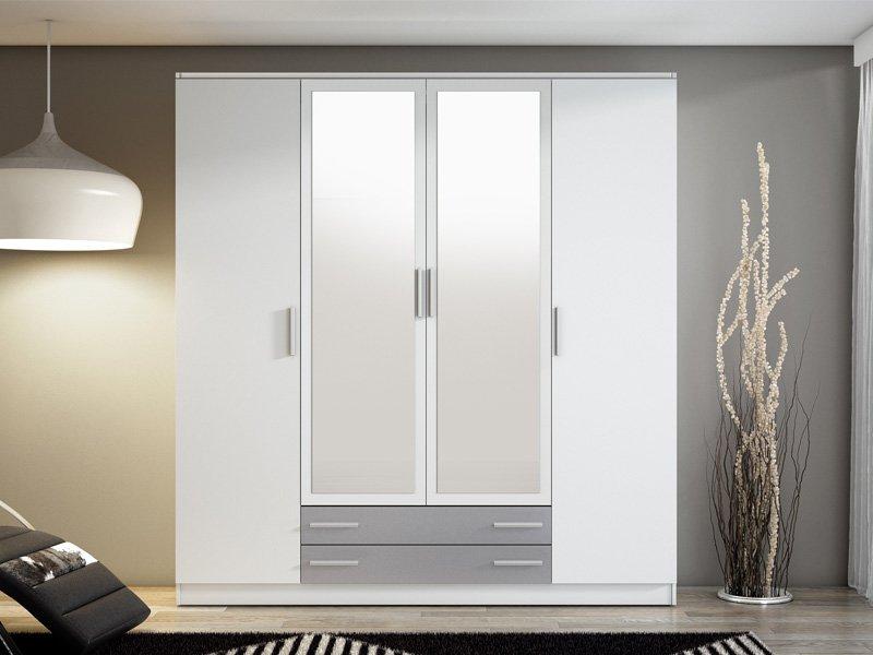 Armario grande con espejos frontales y 2 cajones inferiores for Espejo grande blanco
