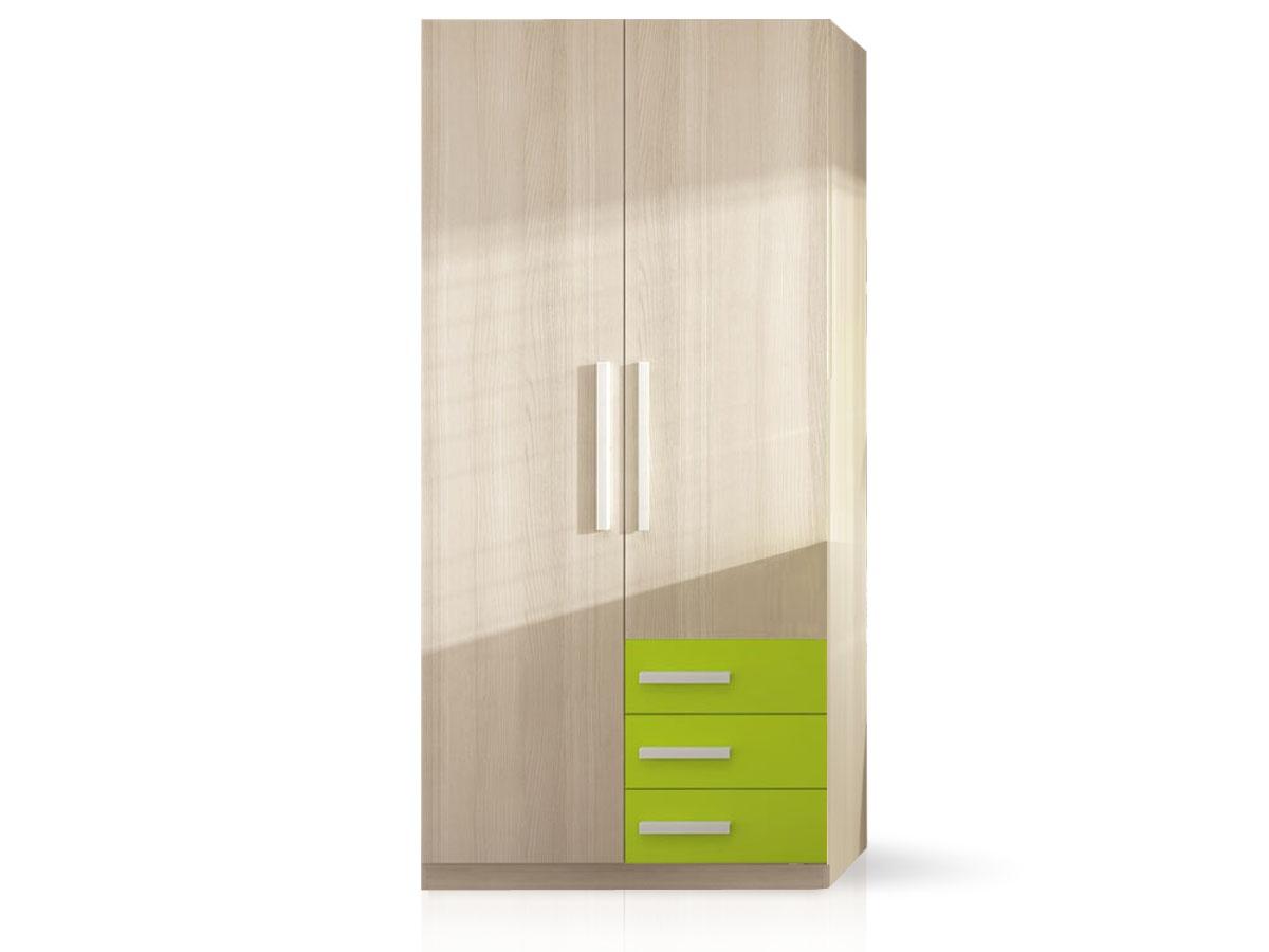 Armario de dos puertas para dormitorio juvenil con cajones for Armarios juveniles baratos en barcelona