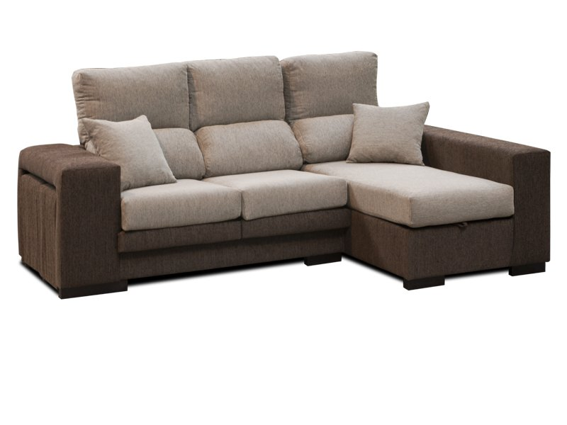 Sofá con chaise longue binable de tipo reclinable y con pouffs