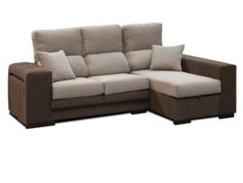 Sofá con chaise longue y pouffs reducida