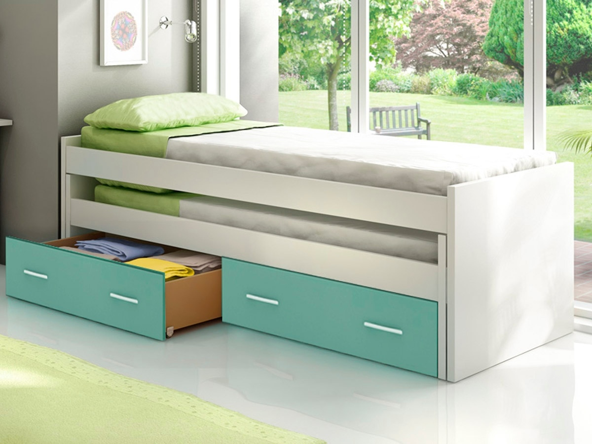 Cama doble compacta basic for Cama infantil doble con cajones