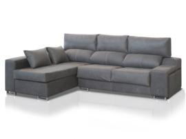 Sofá chaise-longue ergonómico con pouffs laterales