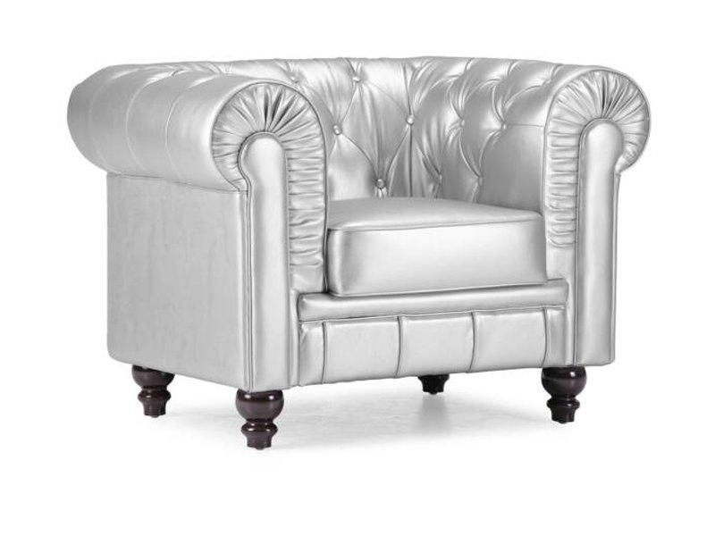 Butaca chester plateada sill n chesterfield de estilo ingl s for Sofas tipo ingles