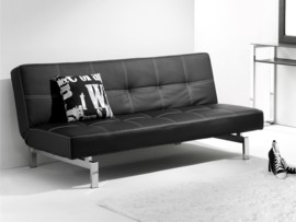 Sofá cama tipo libro en piel sintética