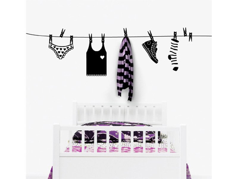 Vinilo tendedero ropa cuadro pegatina para la pared - Tendedero ropa pared ...