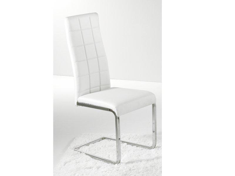 Silla comedor tapizada silla moderna met lica en color crudo for Sillas tapizadas para comedor
