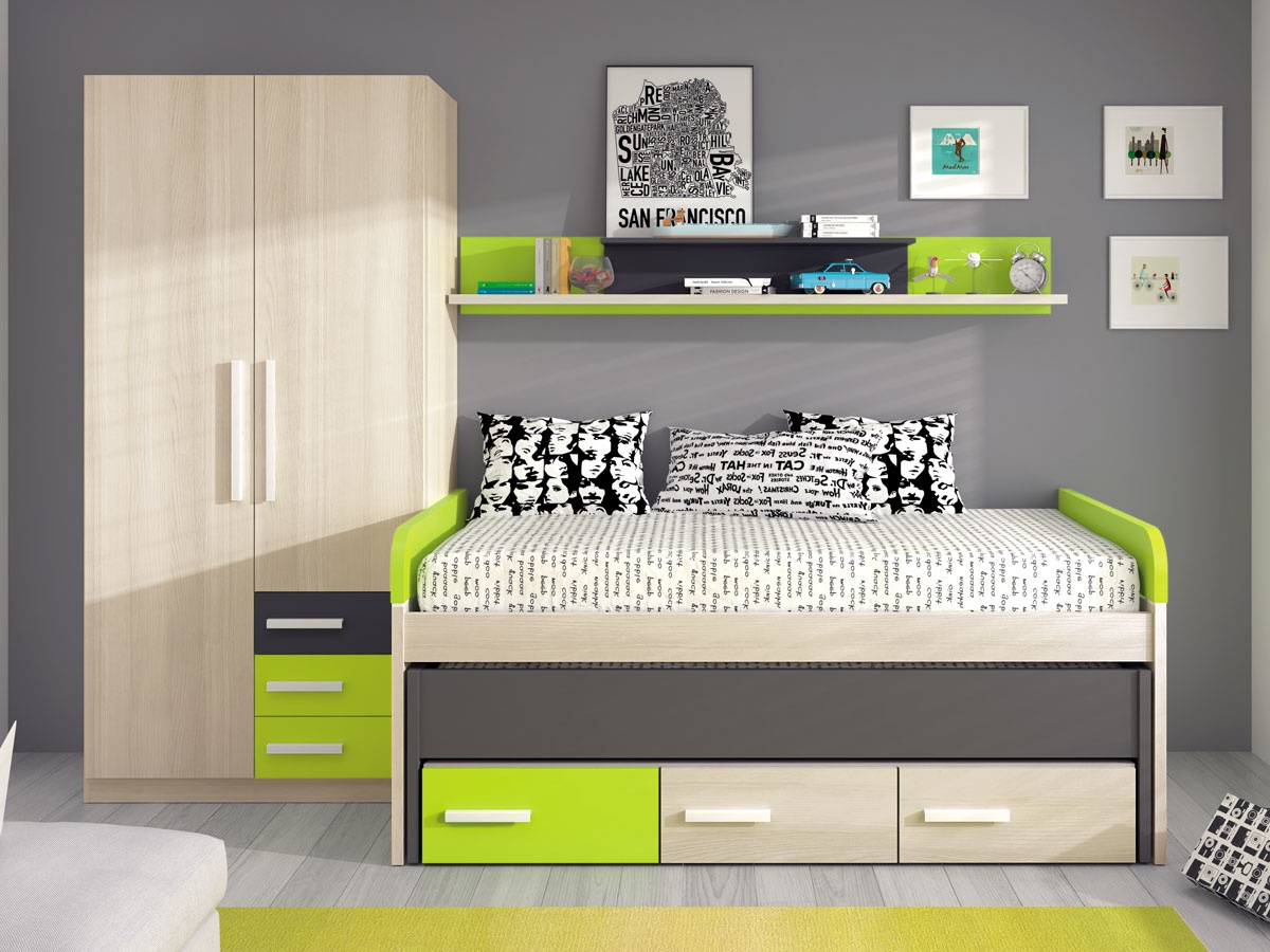 Habitaci n juvenil de cama doble por piezas dormitorio for Cama juvenil doble con cajones