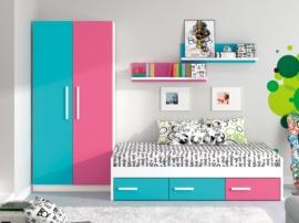 Composición juvenil con cama cajones multicolor