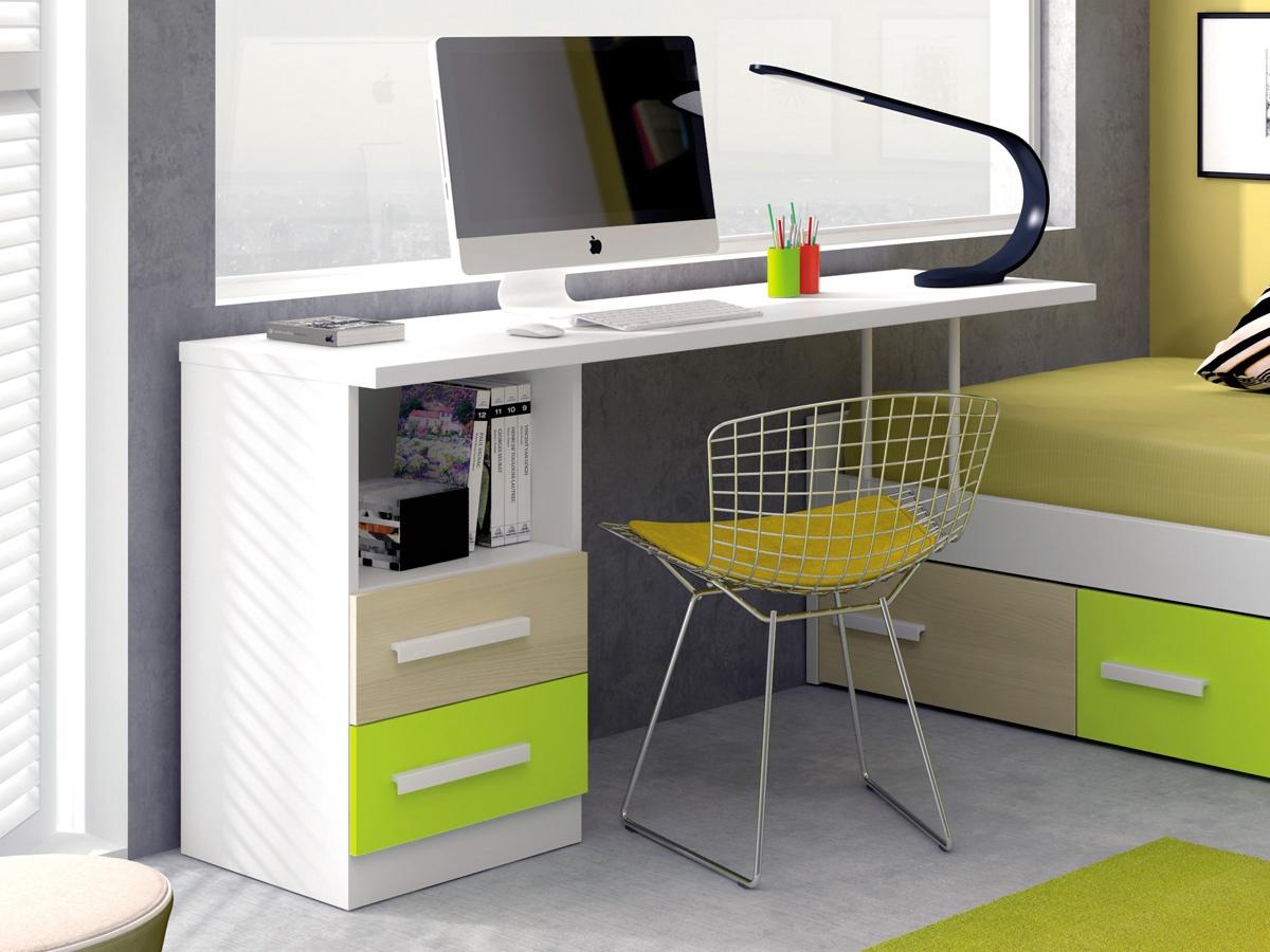 Mesa escritorio con soporte de cama nido para espacios for Cama juvenil con escritorio