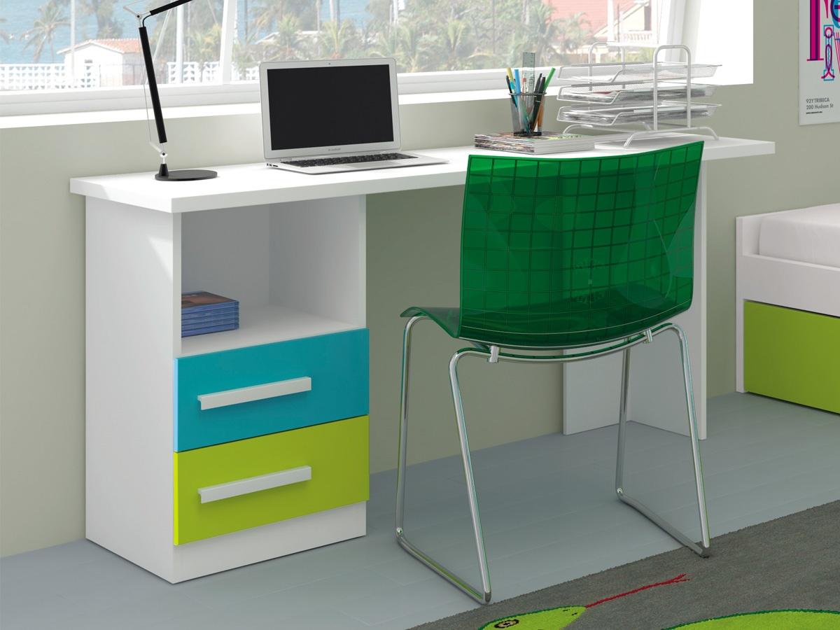 Conjunto mesa de escritorio para j venes 2 cajones y pie en lateral - Mesas estudio juveniles ...