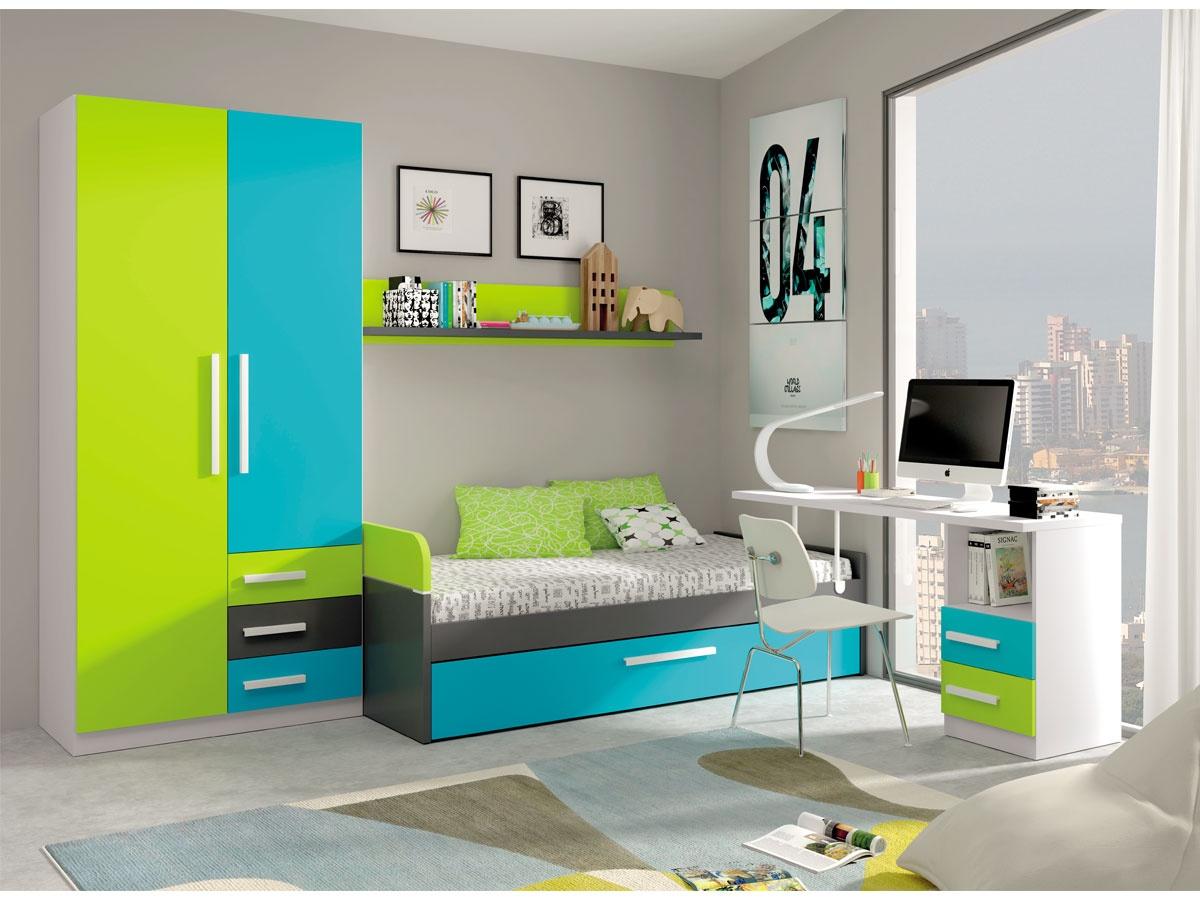 Muebles de dormitorio infantil habitaci n juvenil con for Pegatinas infantiles para muebles